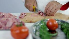 Χασάπης που κόβει το κρέας της Τουρκίας με το πράσινο πιάτο στο μέτωπο φιλμ μικρού μήκους