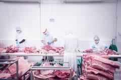Χασάπης που κόβει το φρέσκο χοιρινό κρέας Στοκ εικόνα με δικαίωμα ελεύθερης χρήσης