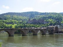 Χαϋδελβέργη με την παλαιά γέφυρα και το Castle Στοκ Εικόνες