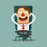 Χαλάρωση επιχειρηματιών στην καρέκλα του στο επίπεδο σχέδιο, χαρακτήρας κινουμένων σχεδίων ελεύθερη απεικόνιση δικαιώματος