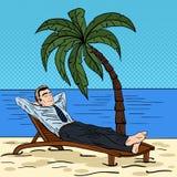 Χαλάρωση επιχειρηματιών στην παραλία τροπικές διακοπές ατόμων Λαϊκή τέχνη απεικόνιση αποθεμάτων