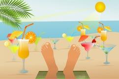 χαλάρωση και ποτά παραλιών διανυσματική απεικόνιση