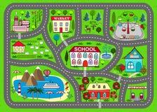 Χαλί οδικού παιχνιδιού για τη δραστηριότητα και την ψυχαγωγία παιδιών απεικόνιση αποθεμάτων