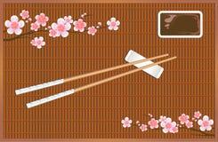 Χαλί ρόλων σουσιών Συσκευές για την ασιατική κουζίνα Κλάδοι ανθών Sakura διάνυσμα Στοκ Εικόνες