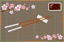 Χαλί ρόλων σουσιών Συσκευές για την ασιατική κουζίνα Κλάδοι ανθών Sakura διάνυσμα Στοκ Φωτογραφίες