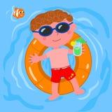 Χαλαρωμένο παιδί στο διάνυσμα νερού διανυσματική απεικόνιση