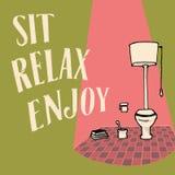 Χαλαρώστε και απολαύστε Εικόνα για το εσωτερικό, τέχνη WC Στοκ εικόνες με δικαίωμα ελεύθερης χρήσης