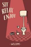 Χαλαρώστε και απολαύστε Ευπρόσδεκτο κείμενο Εικόνα για το εσωτερικό, τέχνη WC Στοκ Εικόνες