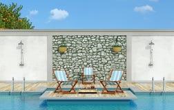 Χαλαρώστε σε έναν κήπο με την πισίνα ελεύθερη απεικόνιση δικαιώματος