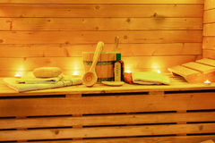 Χαλαρώστε τη ζωή σαουνών ακόμα με τα εξαρτήματα σαουνών Στοκ Εικόνα