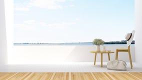 Χαλαρώστε το μπαλκόνι στο ξενοδοχείο - τρισδιάστατη απόδοση Στοκ Φωτογραφία
