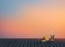 Χαλαρώστε, χρόνος διακοπών, διακοπές, ξύλινο πάτωμα σύστασης με το φυσικό υπόβαθρο τοπίου οριζόντων βραδιού με το φλυτζάνι καφέ Στοκ Εικόνες