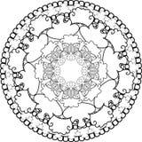 Χαλαρώστε, Mandalas, επισύροντας την προσοχή με το χρωματισμό των γραμμών, στο άσπρο backgroun Στοκ Εικόνα