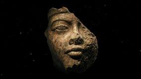 Χαλασμένη αρχαία γλυπτική προσώπου φιλμ μικρού μήκους