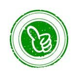 Χαλασμένη πράσινη στρογγυλή σφραγίδα με τον αντίχειρά του επάνω - διάνυσμα Στοκ εικόνα με δικαίωμα ελεύθερης χρήσης