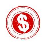 Χαλασμένος γύρω από το κόκκινο γραμματόσημο με το σημάδι δολαρίων - διάνυσμα Στοκ εικόνες με δικαίωμα ελεύθερης χρήσης