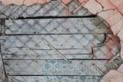 Χαλασμένος τοίχος μιας κινηματογράφησης σε πρώτο πλάνο σπιτιών Στοκ Εικόνα