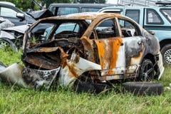 Χαλασμένο όχημα μετά από το τροχαίο Στοκ Φωτογραφίες