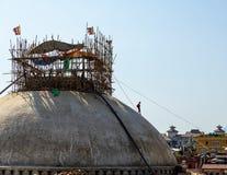 Χαλασμένο Boudhanath σεισμός stupa του Νεπάλ στοκ φωτογραφία με δικαίωμα ελεύθερης χρήσης