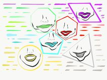 Χείλια μέσα στις μορφές των διαφορετικών χρωμάτων διανυσματική απεικόνιση