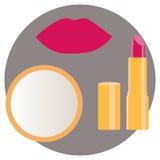 Χείλια με το κραγιόν και τον καθρέφτη απεικόνιση αποθεμάτων