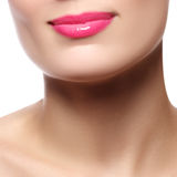 χείλια προκλητικά Ρόδινη λεπτομέρεια χειλικού Makeup ομορφιάς όμορφος αποτελέστε Στοκ Εικόνες