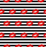 Χειλικό σχέδιο Διανυσματικό άνευ ραφής σχέδιο επίπεδα χείλια φιλήματος γυναικών ` s τα κόκκινα και ρόδινα που απομονώνονται με στ στοκ φωτογραφία