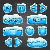 Χειμερινά ανοικτό μπλε κουμπιά με το χιόνι διανυσματική απεικόνιση