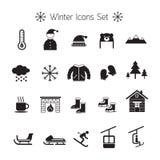 Χειμερινά εικονίδια καθορισμένα, σκιαγραφία, γραπτή διανυσματική απεικόνιση