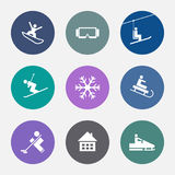 Χειμερινά εικονίδια E Κουμπιά που τίθενται θέρετρο Στοκ Φωτογραφία