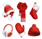 Χειμερινά ενδύματα καπέλο πλεκτό Χριστουγέννων δώρων διανυσματικό λευκό καλτσών απεικόνισης κόκκινο μαντίλι γάντι earmuffs διάνυσ Στοκ φωτογραφίες με δικαίωμα ελεύθερης χρήσης