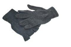Χειμερινά μαύρα γάντια στο άσπρο υπόβαθρο Στοκ Εικόνα