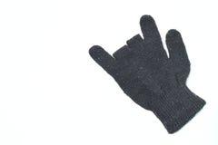 Χειμερινά μαύρα γάντια στο άσπρο υπόβαθρο Στοκ Φωτογραφία