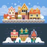 Χειμερινά σπίτια η ημέρα εύκολη επιμελείται τη νύχτα στο διάνυσμα διανυσματική απεικόνιση