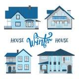 Χειμερινά σπίτια Σύνολο αρχιτεκτονικής απεικόνιση αποθεμάτων