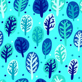 Χειμερινά συρμένα χέρι δέντρα της Νίκαιας σε πέντε χρώματα πρότυπο άνευ ραφής Απεικόνιση αποθεμάτων