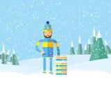 Χειμερινά τοπίο και άτομο με το έλκηθρο Επίπεδο σχέδιο Στοκ εικόνα με δικαίωμα ελεύθερης χρήσης