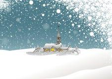 Χειμερινά τοπίο και χιόνι διανυσματική απεικόνιση