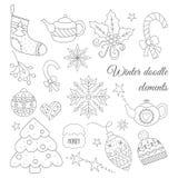 Χειμερινά doodle στοιχεία καθορισμένα Στοκ φωτογραφία με δικαίωμα ελεύθερης χρήσης