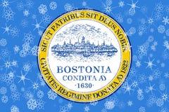Χειμερινά snowflakes της Βοστώνης, Μασαχουσέτη υπόβαθρο σημαιών η Αμερική δηλώνει ενωμένο απεικόνιση αποθεμάτων