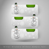 Χειμερινές αυτοκόλλητες ετικέττες με το χιονάνθρωπο το σχέδιο εύκολο επιμελείται τα στοιχεία στο διάνυσμα Διανυσματική απεικόνιση
