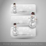 Χειμερινές αυτοκόλλητες ετικέττες με το χιονάνθρωπο το σχέδιο εύκολο επιμελείται τα στοιχεία στο διάνυσμα Στοκ Φωτογραφία