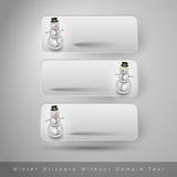 Χειμερινές αυτοκόλλητες ετικέττες με το χιονάνθρωπο το σχέδιο εύκολο επιμελείται τα στοιχεία στο διάνυσμα Στοκ Εικόνες