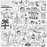 Χειμερινές διακοπές doodles Στοκ εικόνες με δικαίωμα ελεύθερης χρήσης