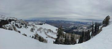 Χειμερινές μεγαλοπρεπείς απόψεις γύρω από τα μπροστινά δύσκολα βουνά Wasatch, χιονοδρομικό κέντρο του Μπράιτον, κοντά στο Σόλτ Λέ Στοκ Εικόνες