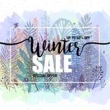 Χειμερινές πωλήσεις αφισών σε ένα floral υπόβαθρο watercolor Κάρτα, ετικέτα, ιπτάμενο, στοιχείο σχεδίου εμβλημάτων επίσης corel σ Στοκ εικόνα με δικαίωμα ελεύθερης χρήσης