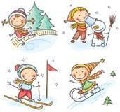 Χειμερινές υπαίθρια δραστηριότητες παιδιών απεικόνιση αποθεμάτων