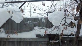 Χειμερινή άποψη έξω από το εξοχικό σπίτι, τον ξύλινους φράκτη και τα δέντρα στο χιόνι απόθεμα βίντεο