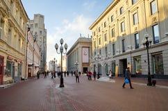 Χειμερινή άποψη σχετικά με την οδό Arbat στη Μόσχα, Ρωσία Στοκ Εικόνα