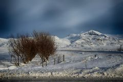 Χειμερινή άποψη της Ισλανδίας Χριστουγέννων vik Στοκ Εικόνες
